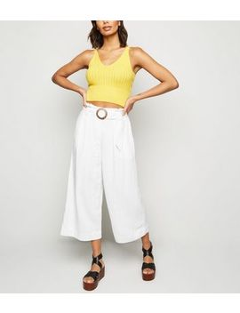 Off White Linen Look Crop Trousers by New Look