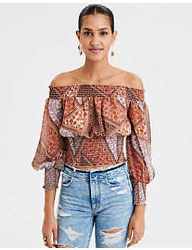 Ae Off The Shoulder Chiffon Blouse by American Eagle Outfitters