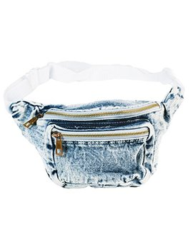 Funny Guy Mugs Premium Jean Fanny Pack   Retro Denim Acid Wash Jean Fanny Pack by Funny Guy Mugs