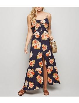 Brave Soul Navy Floral Split Front Maxi Dress by New Look