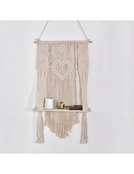Shzons Macrame Hanging Shelf, Handmade Wood Macrame Floating Hanging Planter Wall Shelf Boho Chic Home Decor,59.06×78.74 In by Shzons