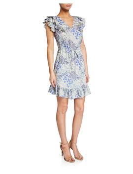 Ava Sleeveless V Neck Ruffle Short Dress by Rebecca Taylor