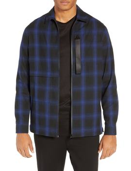 Slim Fit Plaid Zip Front Flannel Shirt Jacket by Riverstone