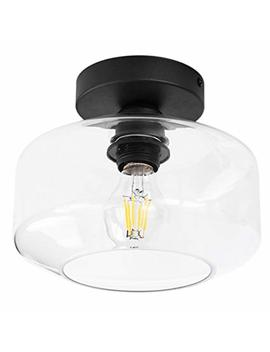 Te Henoo Industrial Ceiling Light Fixture With Clear Glass Shade Semi Flush For Dining Room, Bedroom, Cafe, Bar, Corridor, Hallway, Entryway, Passway by Bsm