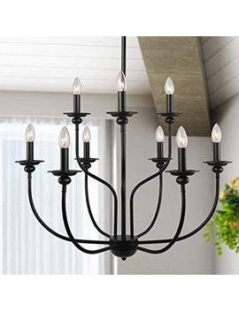 "Laluz 9 Lights French Country Metal Chandelier, 2 Tier Pendant Light Fixture In Painted Black Finish, 30"" Large Kitchen Island Lighting, A03233 by Laluz"