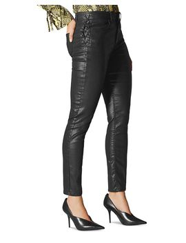 Coated Lace Up Skinny Jeans In Black by Karen Millen