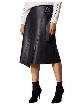 Faux Leather Faux Wrap Skirt by Karen Millen