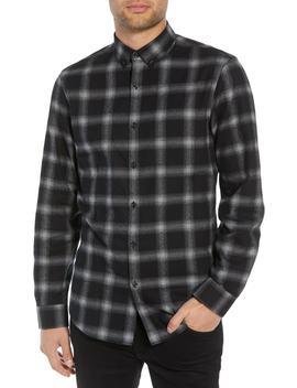 Slim Fit Mini Collar Plaid Flannel Sport Shirt by Calibrate