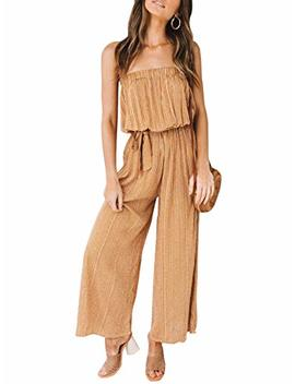 Season 4 Women's Sexy Off Shoulder Strapless Leopard Belted Jumpsuit Loose Solid Wide Leg Long Romper by Season 4