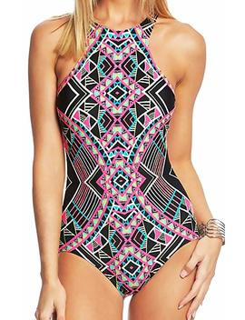 Coco Rave One Piece Swimsuit High Neck Zip Racerback Athletic Printed Maillot 32 B 32 C S by Coco Rave