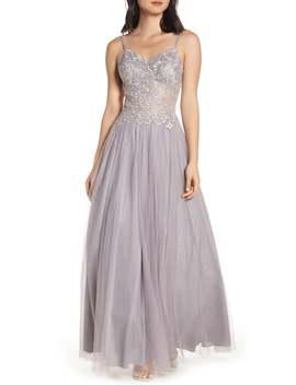 Appliqué Illusion Mesh Evening Dress by Blondie Nites