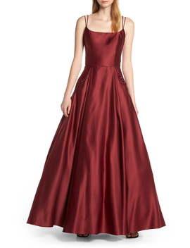 Square Neck Embellished Pocket Satin Evening Dress by Blondie Nites