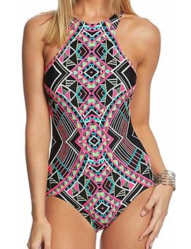 Coco Rave Women's High Neck One Piece Swimsuit With Zipper Closure by Coco Rave