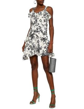 Floral Print Piqué Mini Dress by Lover
