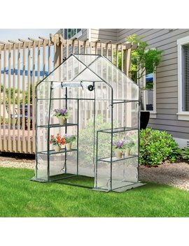4.5' X 2.5' X 6.5' Outdoor Portable Walk In Greenhouse With 3 Tier Storage Shelves by Wayfair