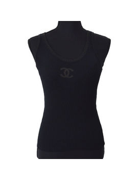 Authentic Chanel Cc Logos Sleeveless Tops Black #34 Italy Ak23016 by Chanel