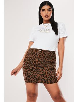 Plus Size Brown Leopard Print Denim Skirt by Missguided