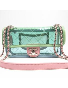Chanel Cc Clear Chain Shoulder Bag Pvc Pink/Green/Blu<Wbr>E Used Vintage by Chanel