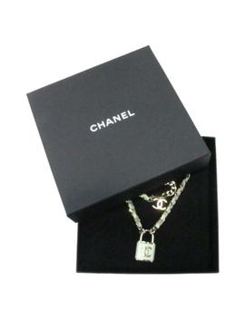 Authentic Chanel Coco Mark Necklace Leather by Chanel