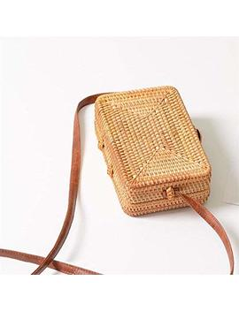 Handmade Rattan Woven Beach Bag Portable Straw Crossbody Bag Small Square Bag Women Shoulder Bag by Soarflight