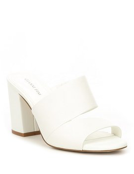 Keatonn Leather Asymmetrical Cut Out Block Heel Mules by Gianni Bini