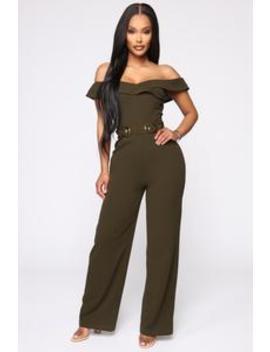 Casual Feelings Wide Leg Jumpsuit   Olive by Fashion Nova