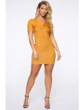 Pieces Of You Sweater Mini Dress   Mustard by Fashion Nova