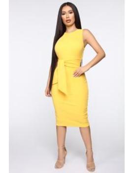 Tied To The Drama Ribbed Midi Dress   Yellow by Fashion Nova