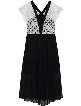 Cinderella Crochet Paneled Chiffon Midi Dress by Sandro