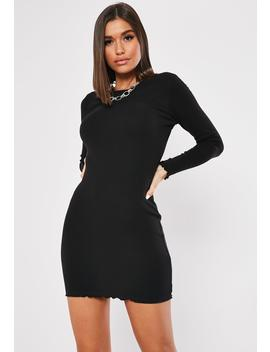 Black Ribbed Long Sleeve Lettuce Hem Mini Dress by Missguided