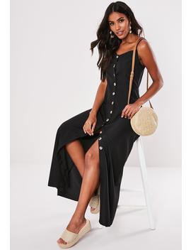 Black Cami Horn Button Maxi Dress by Missguided