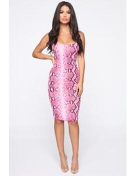 Got You Rattle Up Snake Print Midi Dress   Neon Pink by Fashion Nova