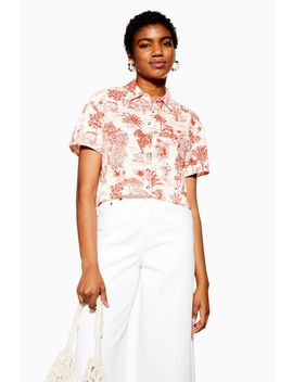 Red Jungle Print Boxy Polo by Topshop