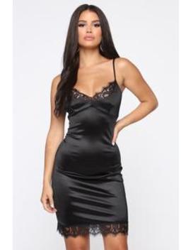 Feeling Like New Satin Slip Dress   Black by Fashion Nova
