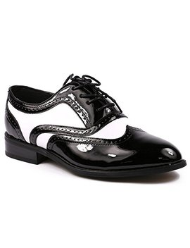 Miko Lotti Tpck01103 Men's Black White Patent Tuxedo Perforated Wing Tip Lace Up Oxford Dress Shoes by Miko Lotti