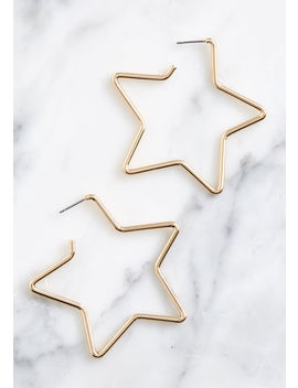 Seriously Stellar Star Hoop Earrings by Modcloth