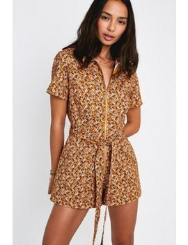 Uo Hey Sunshine Printed Linen Romper by Urban Outfitters