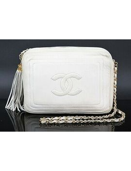 Authentic Chanel Ivory Lambskin Leather Fringe Gold Chain Shoulder Bag #32351 A by Chanel