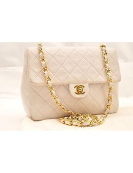 Authentic Chanel Lamb Skin Matelasse 20 Chain Shoulder Bag White Cc 63509 by Chanel