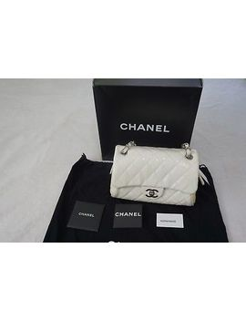 Chanel Classic Bag With Flap White Patent Leather Authentic With Tag by Chanel