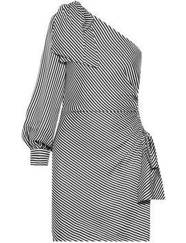 One Shoulder Striped Jacquard Mini Dress by Zimmermann
