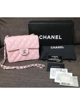 Auth Chanel Shoulder Bag Pink Mini Matelasse Crossbody Caviar Skin Logo B0727 by Chanel