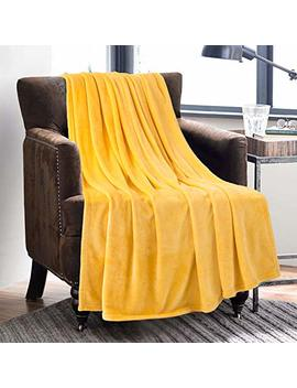 Bedsure Flannel Fleece Luxury Blanket Yellow Lightweight Cozy Plush Microfiber Solid Blanket 50x60 In by Bedsure