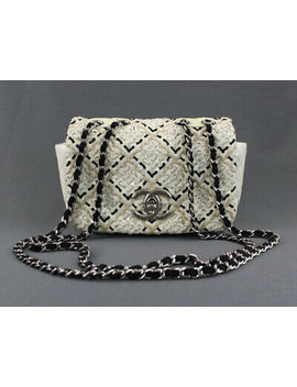 Chanel Auth Ivory Black Beige Woven Patent Leather Convertible Strap Handbag by Chanel