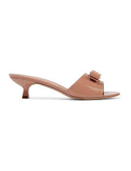 Ginostra Bow Embellished Patent Leather Mules by Salvatore Ferragamo