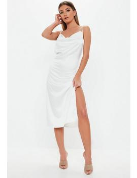 Tall White Satin Cowl Front Midi Dress by Missguided