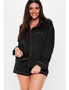 Plus Size Black Satin Short Pyjama Set by Missguided
