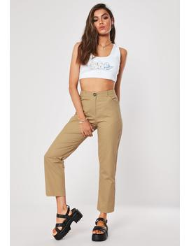 Sand Horn Button Chino Trousers by Missguided
