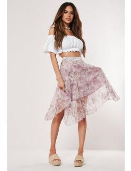 Purple Floral Shimmer Frill Hem Midi Skirt by Missguided