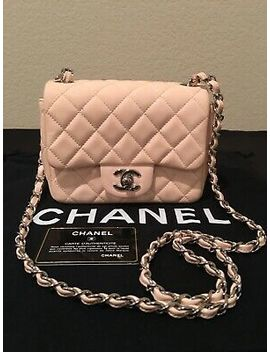 Authentic Chanel Classic Mini Flap Patent Leather Pink Quilted Bag, Rare!!! by Chanel